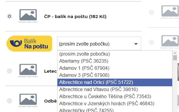 Automatické aktualizace poboček České pošty a Balíkovny
